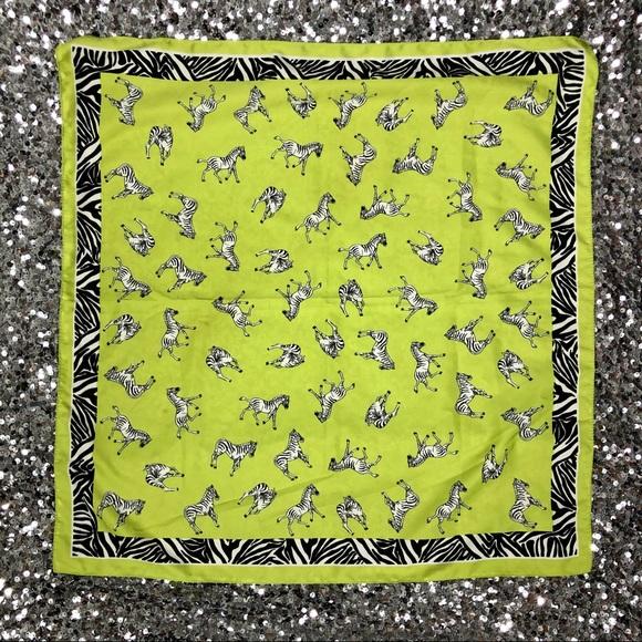 Vintage Accessories - 🖤 Vintage 1980s zebra print chartreuse scarf